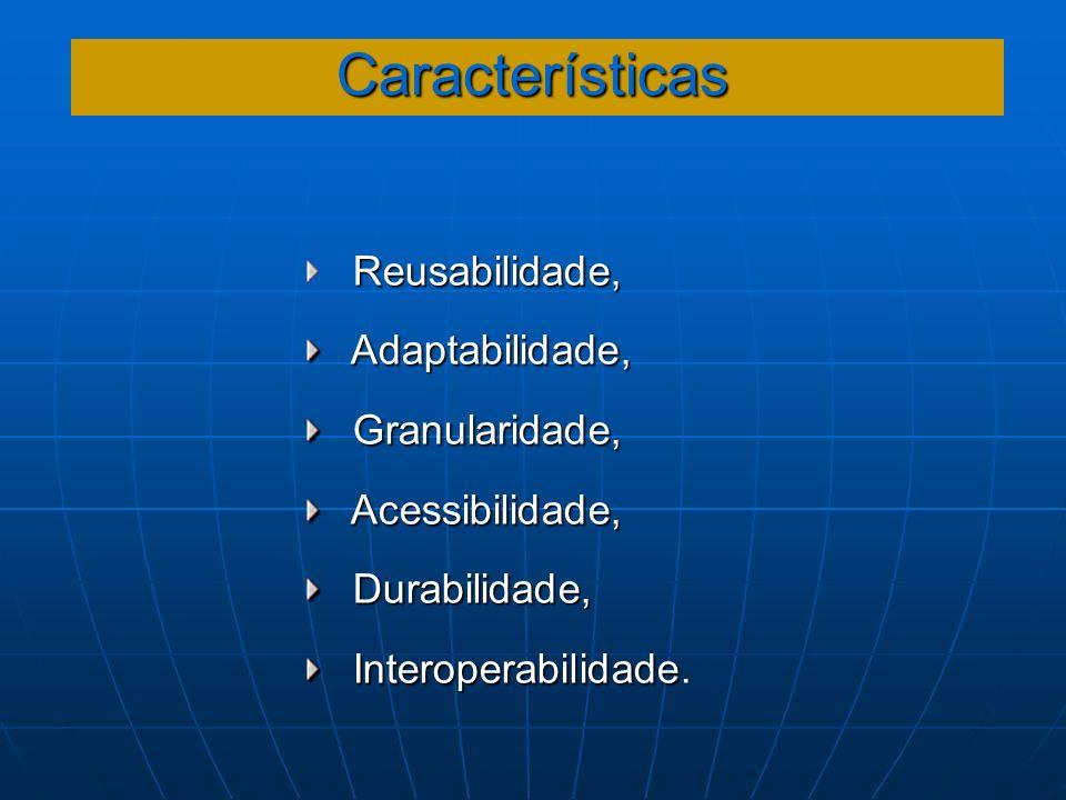 Características Reusabilidade, Adaptabilidade, Granularidade,