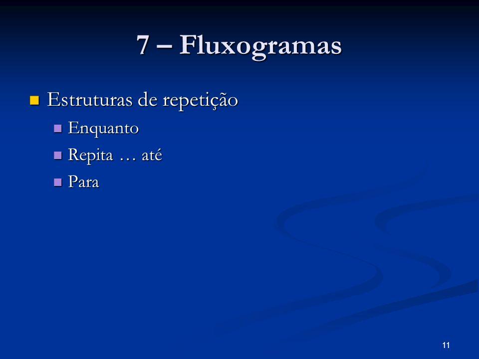 7 – Fluxogramas Estruturas de repetição Enquanto Repita … até Para