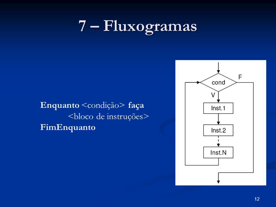 7 – Fluxogramas Enquanto <condição> faça