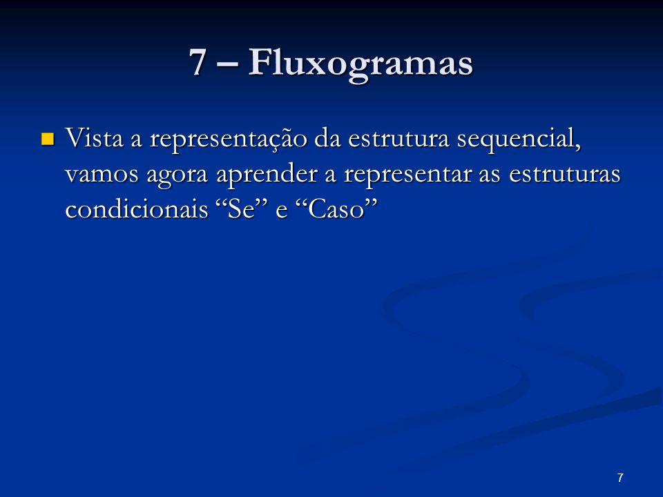 7 – FluxogramasVista a representação da estrutura sequencial, vamos agora aprender a representar as estruturas condicionais Se e Caso