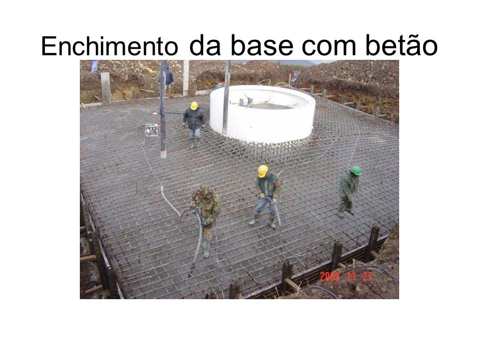 Enchimento da base com betão