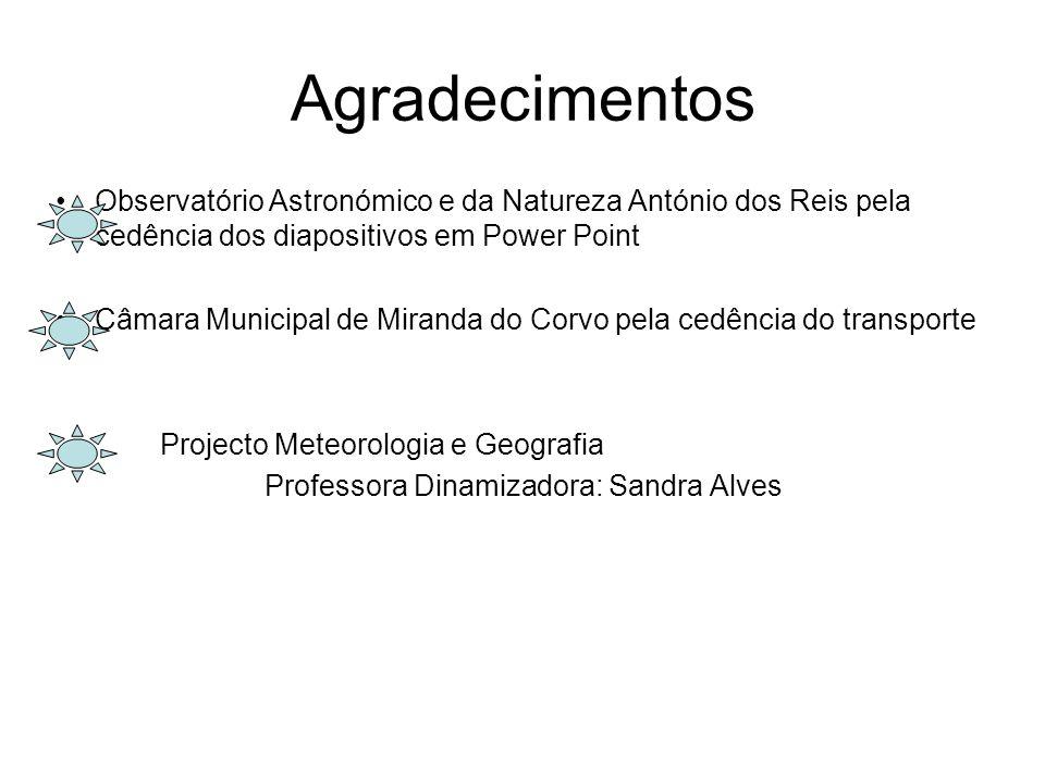 Agradecimentos Observatório Astronómico e da Natureza António dos Reis pela cedência dos diapositivos em Power Point.
