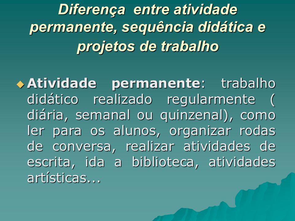Diferença entre atividade permanente, sequência didática e projetos de trabalho