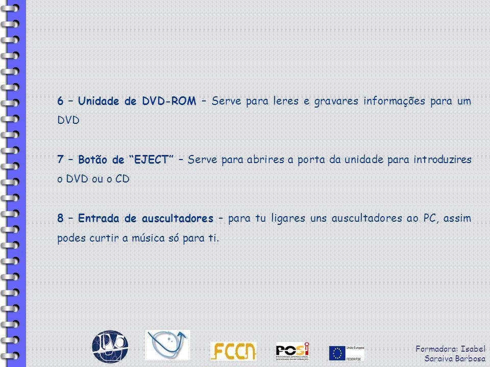 6 – Unidade de DVD-ROM – Serve para leres e gravares informações para um DVD