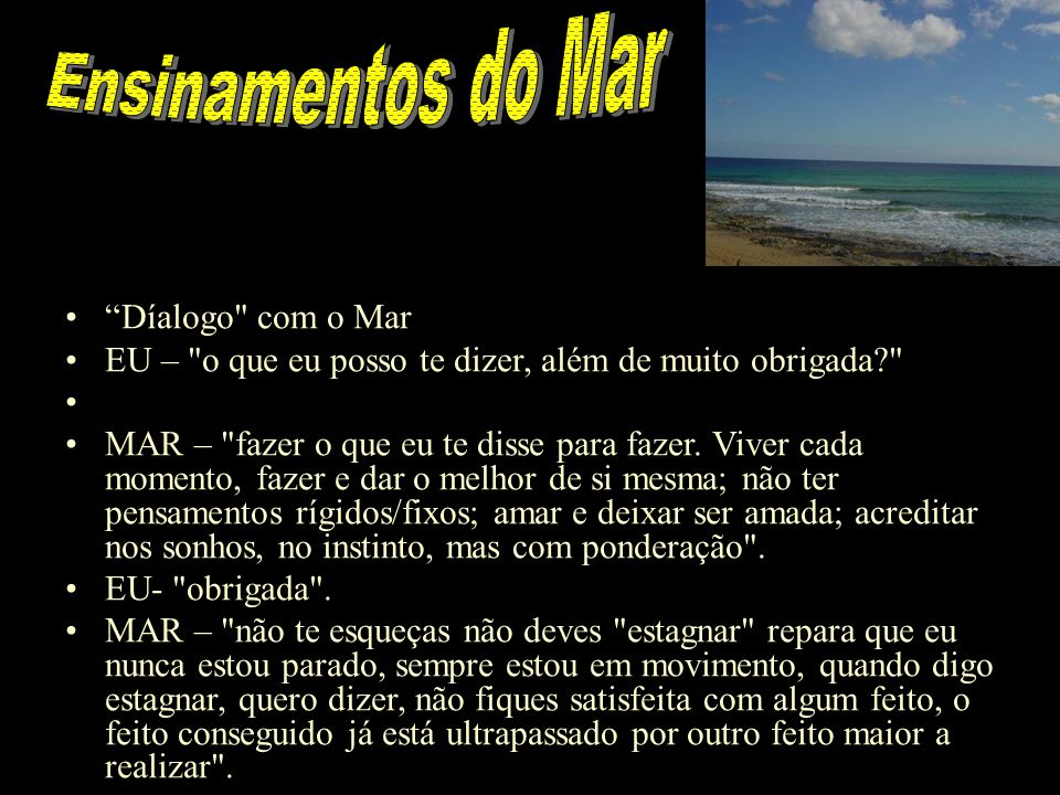 Ensinamentos do Mar Díalogo com o Mar