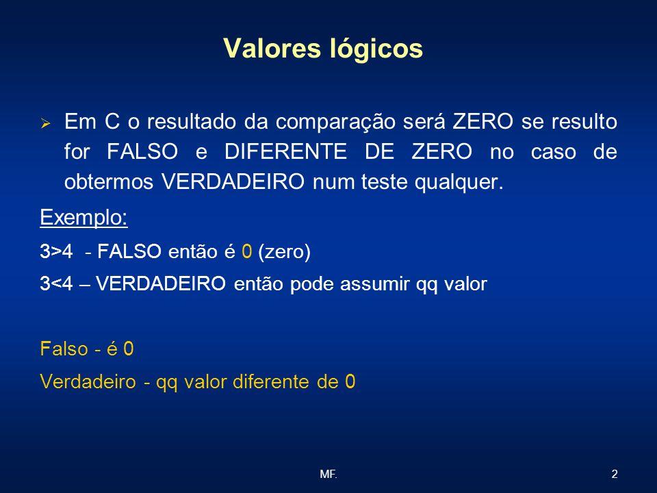 Valores lógicos Em C o resultado da comparação será ZERO se resulto for FALSO e DIFERENTE DE ZERO no caso de obtermos VERDADEIRO num teste qualquer.
