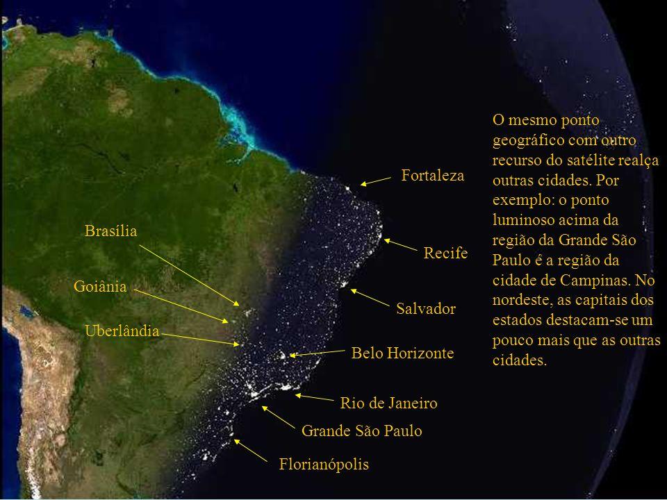 O mesmo ponto geográfico com outro recurso do satélite realça outras cidades. Por exemplo: o ponto luminoso acima da região da Grande São Paulo é a região da cidade de Campinas. No nordeste, as capitais dos estados destacam-se um pouco mais que as outras cidades.