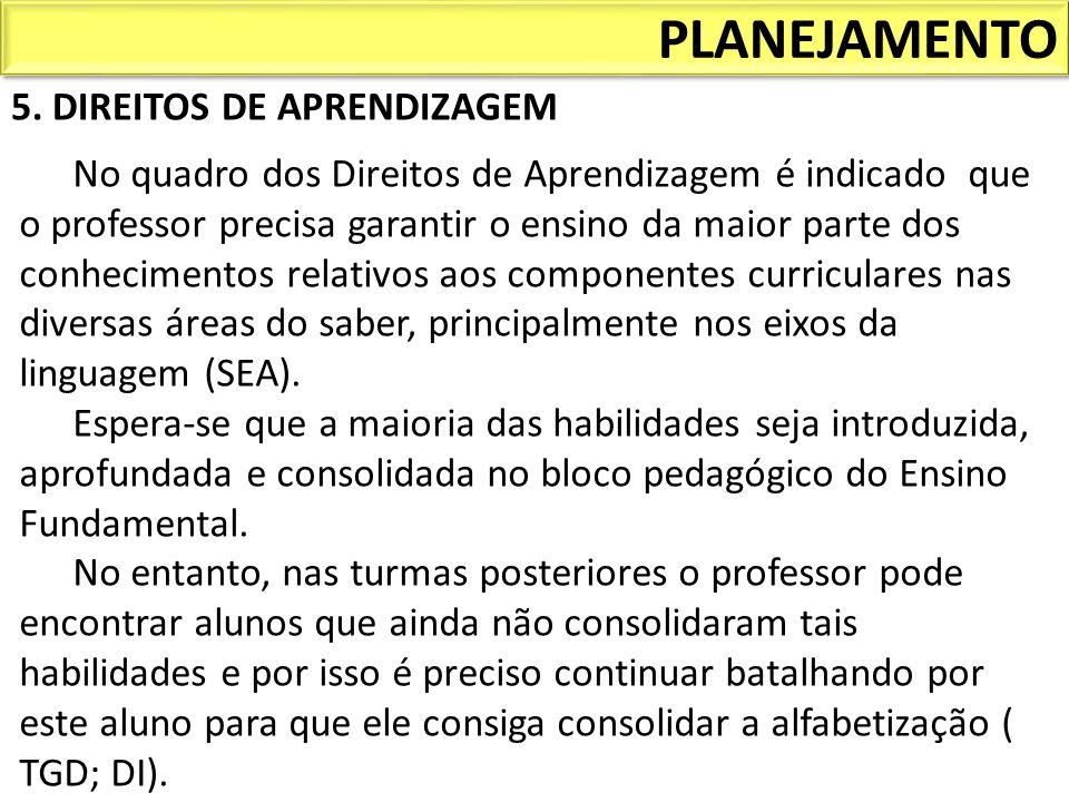 PLANEJAMENTO 5. DIREITOS DE APRENDIZAGEM