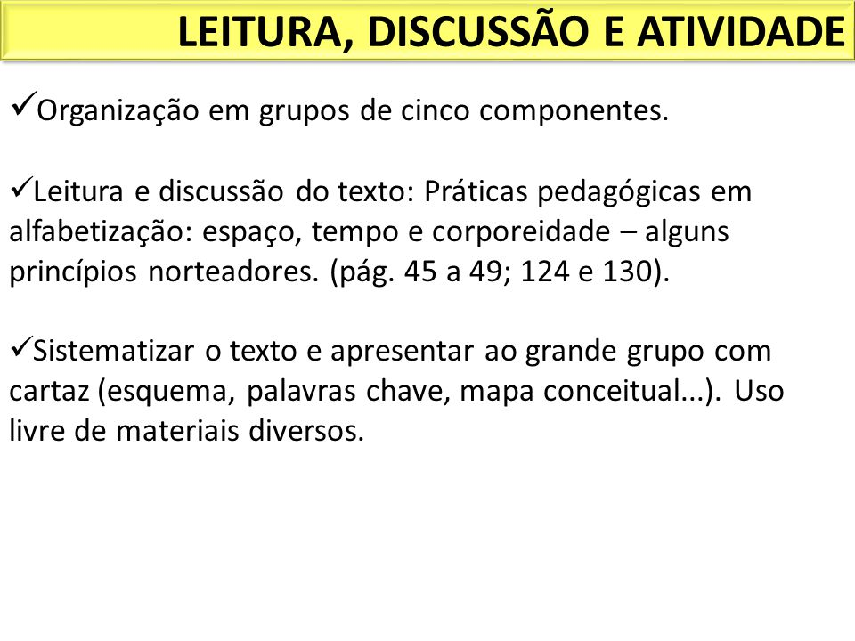 LEITURA, DISCUSSÃO E ATIVIDADE