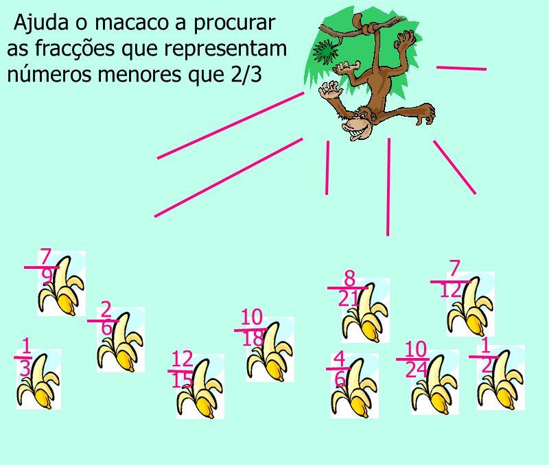 Ajuda o macaco a procurar as fracções que representam