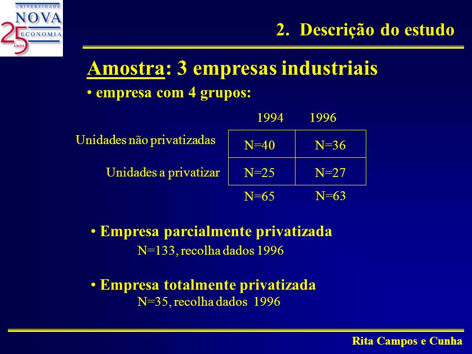 Amostra: 3 empresas industriais