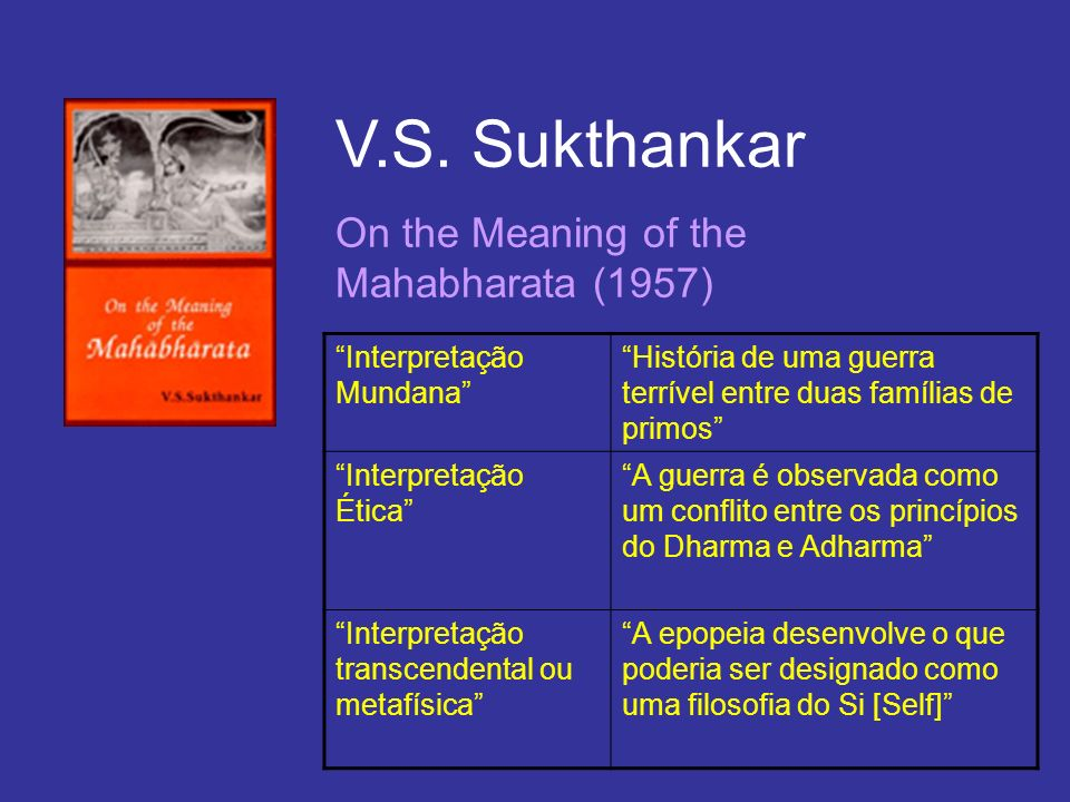 V.S. Sukthankar On the Meaning of the Mahabharata (1957)