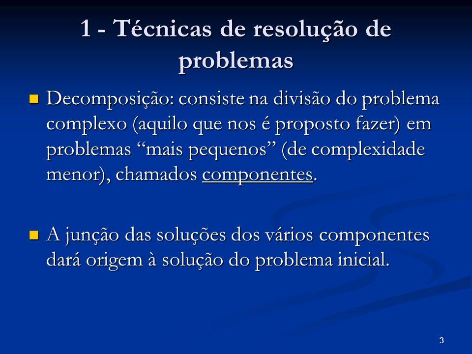 1 - Técnicas de resolução de problemas
