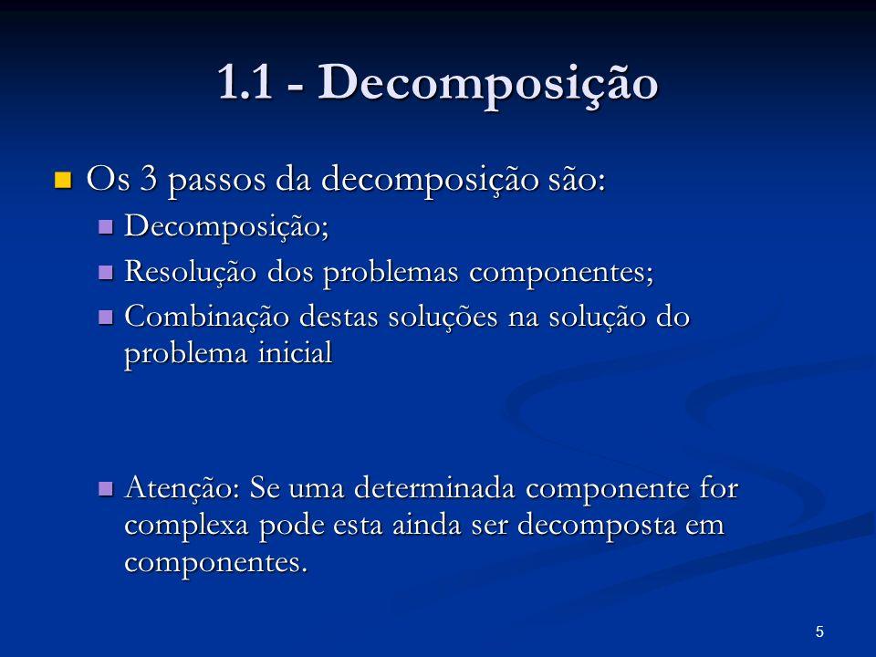 1.1 - Decomposição Os 3 passos da decomposição são: Decomposição;