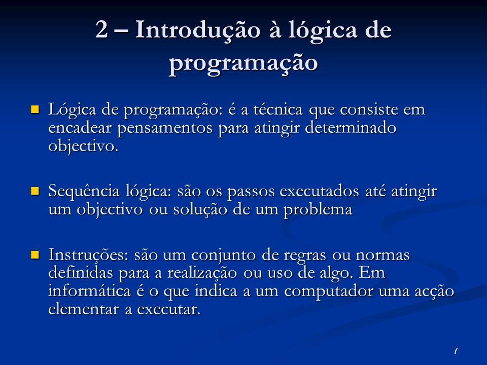 2 – Introdução à lógica de programação