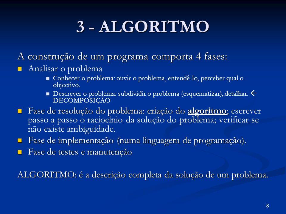 3 - ALGORITMO A construção de um programa comporta 4 fases: