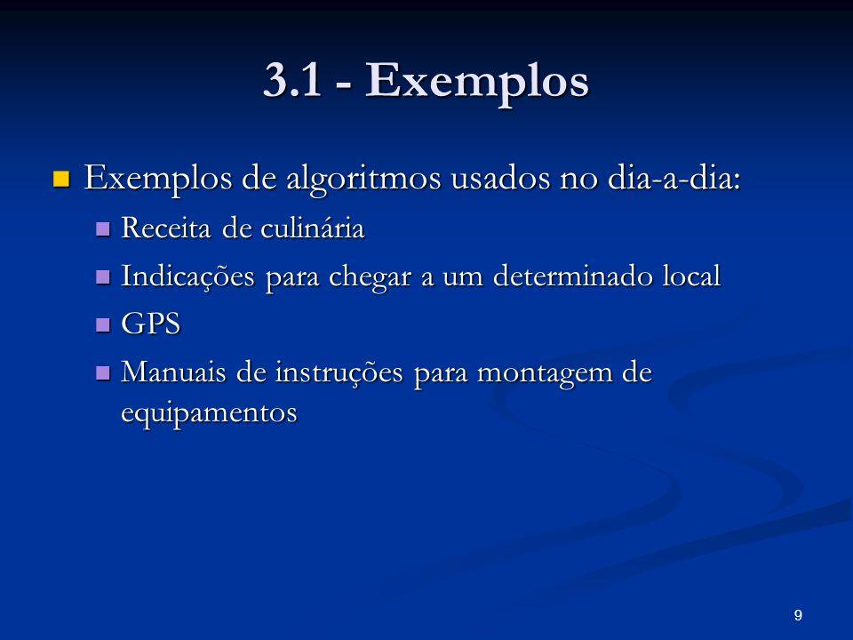 3.1 - Exemplos Exemplos de algoritmos usados no dia-a-dia: