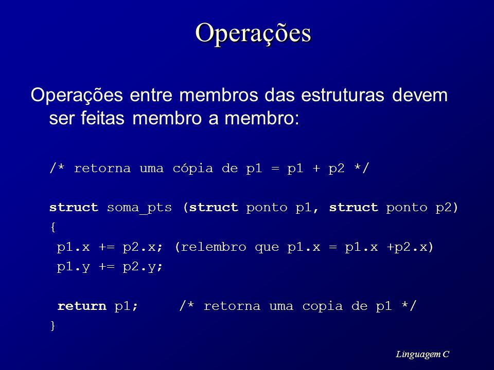 OperaçõesOperações entre membros das estruturas devem ser feitas membro a membro: /* retorna uma cópia de p1 = p1 + p2 */