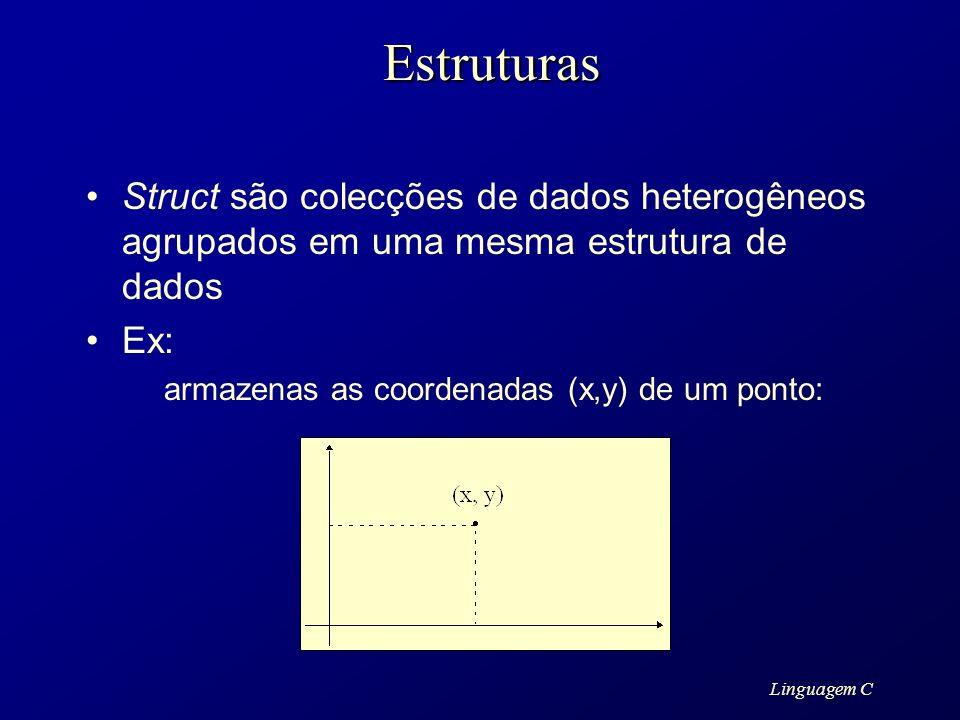Estruturas Struct são colecções de dados heterogêneos agrupados em uma mesma estrutura de dados. Ex: