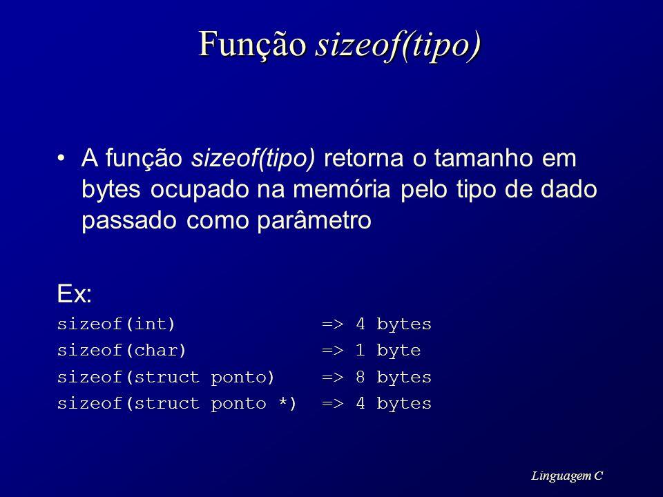 Função sizeof(tipo)A função sizeof(tipo) retorna o tamanho em bytes ocupado na memória pelo tipo de dado passado como parâmetro.