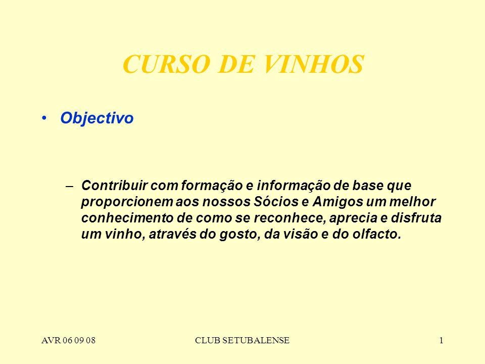 CURSO DE VINHOS Objectivo