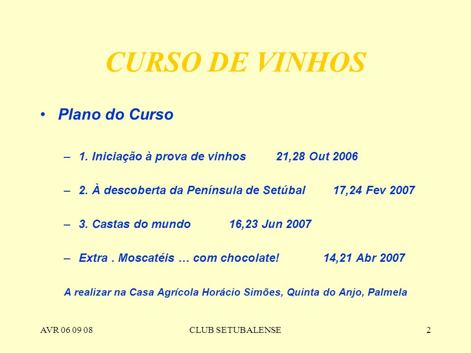 CURSO DE VINHOS Plano do Curso