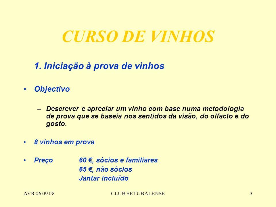 CURSO DE VINHOS 1. Iniciação à prova de vinhos Objectivo