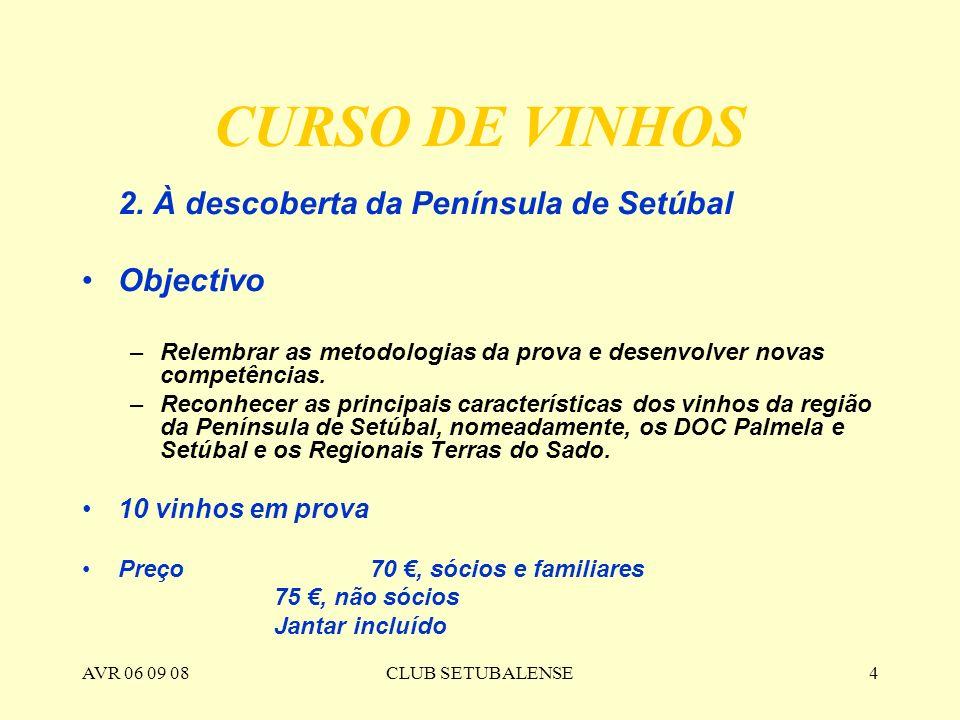 CURSO DE VINHOS Objectivo 2. À descoberta da Península de Setúbal