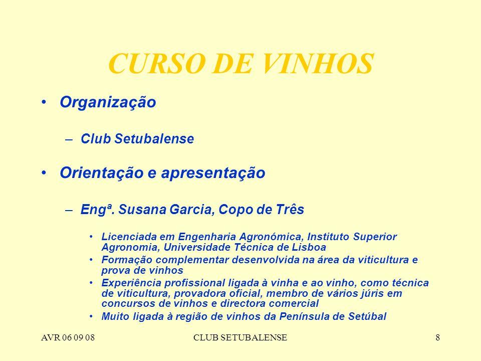 CURSO DE VINHOS Organização Orientação e apresentação Club Setubalense
