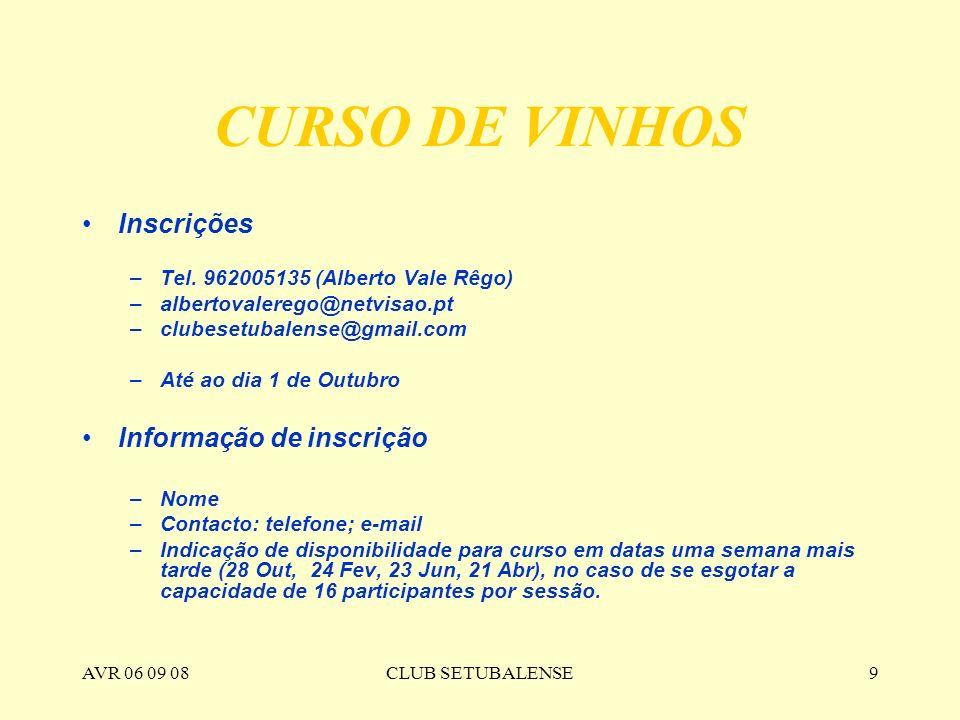 CURSO DE VINHOS Inscrições Informação de inscrição