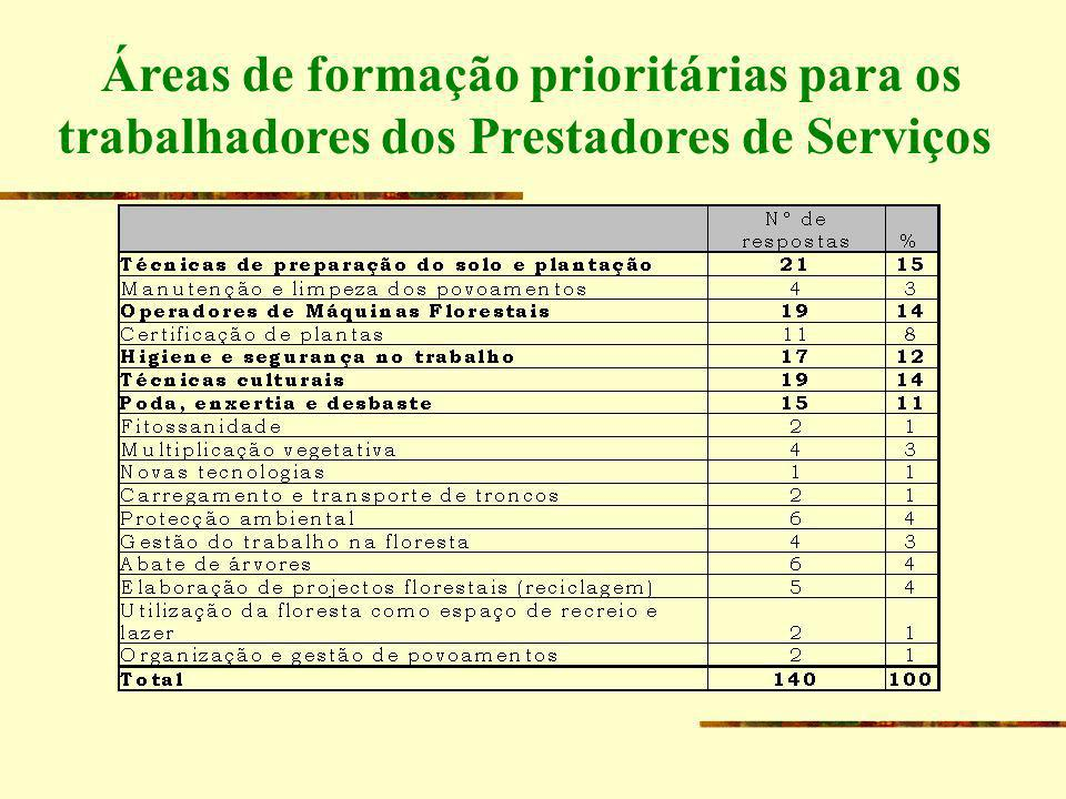 Áreas de formação prioritárias para os trabalhadores dos Prestadores de Serviços