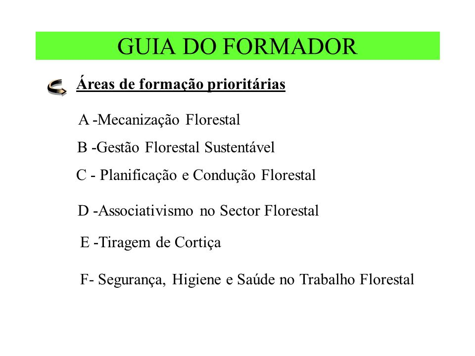 GUIA DO FORMADOR Áreas de formação prioritárias