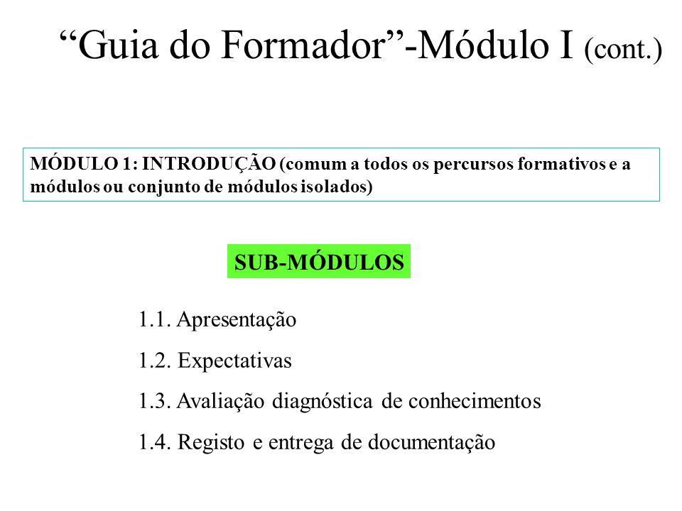 Guia do Formador -Módulo I (cont.)