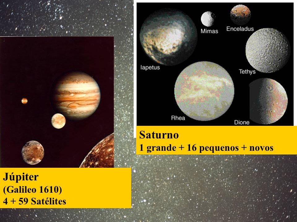 Saturno Júpiter 1 grande + 16 pequenos + novos (Galileo 1610)