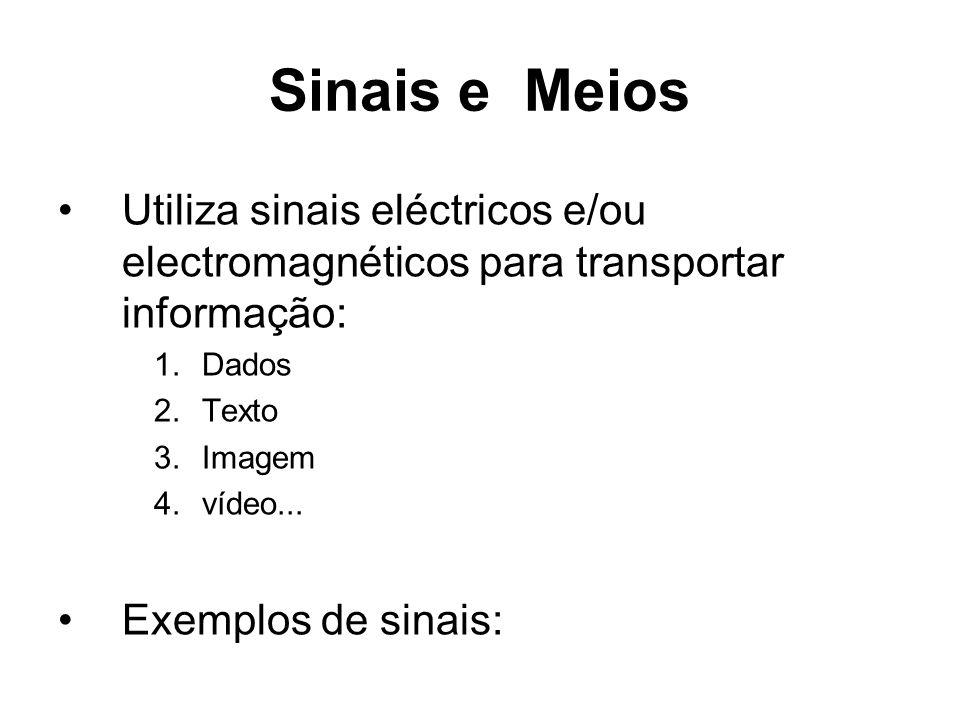Sinais e Meios Utiliza sinais eléctricos e/ou electromagnéticos para transportar informação: Dados.