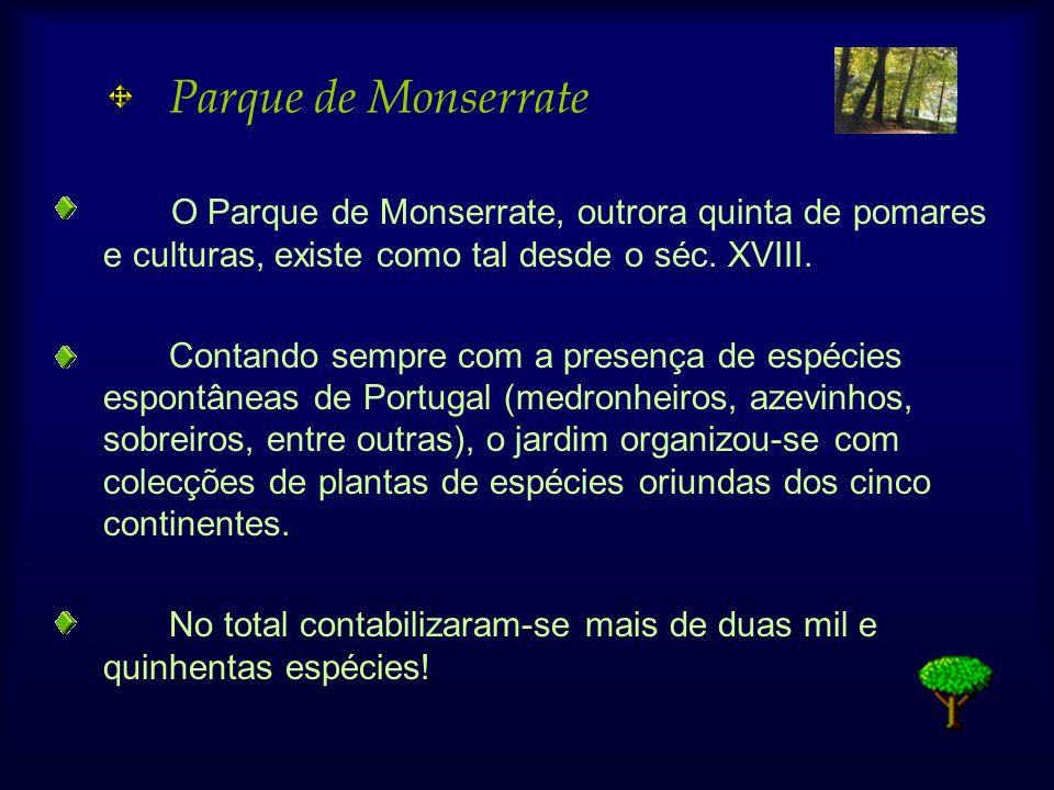 Parque de Monserrate O Parque de Monserrate, outrora quinta de pomares e culturas, existe como tal desde o séc. XVIII.
