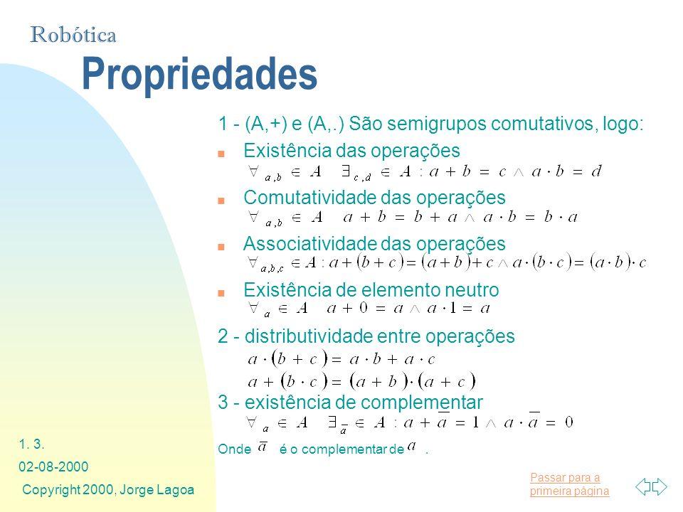 Propriedades 1 - (A,+) e (A,.) São semigrupos comutativos, logo: