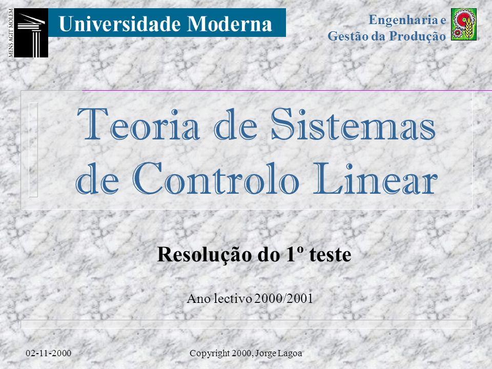 Resolução do 1º teste Ano lectivo 2000/2001 02-11-2000