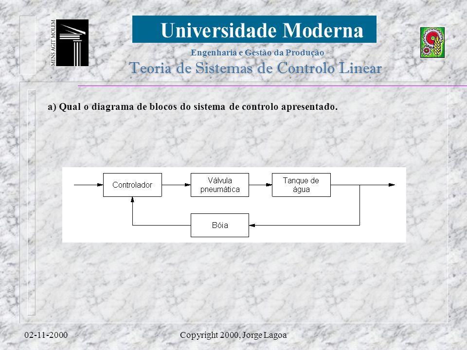 a) Qual o diagrama de blocos do sistema de controlo apresentado.