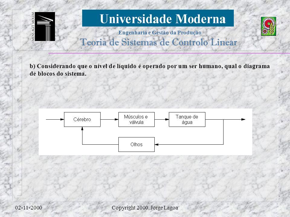 b) Considerando que o nível de líquido é operado por um ser humano, qual o diagrama de blocos do sistema.