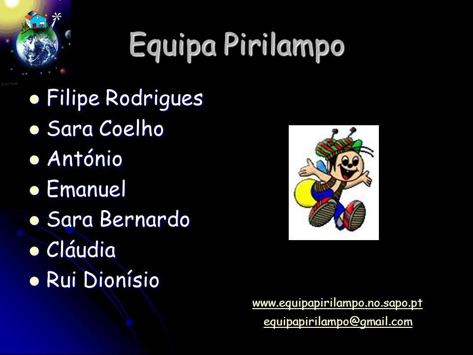 Equipa Pirilampo Filipe Rodrigues Sara Coelho António Emanuel