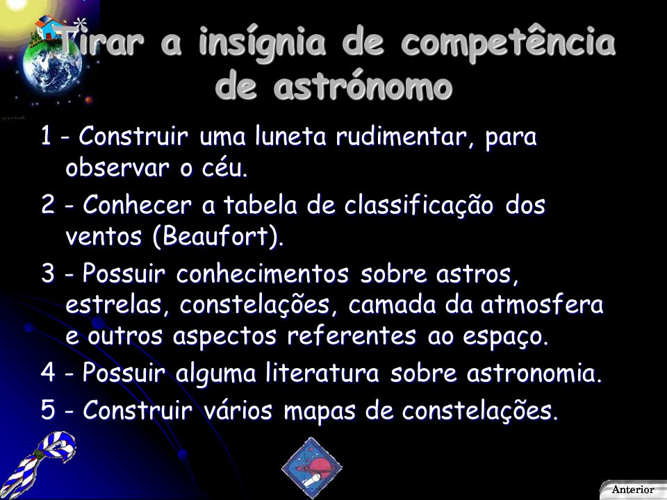 Tirar a insígnia de competência de astrónomo
