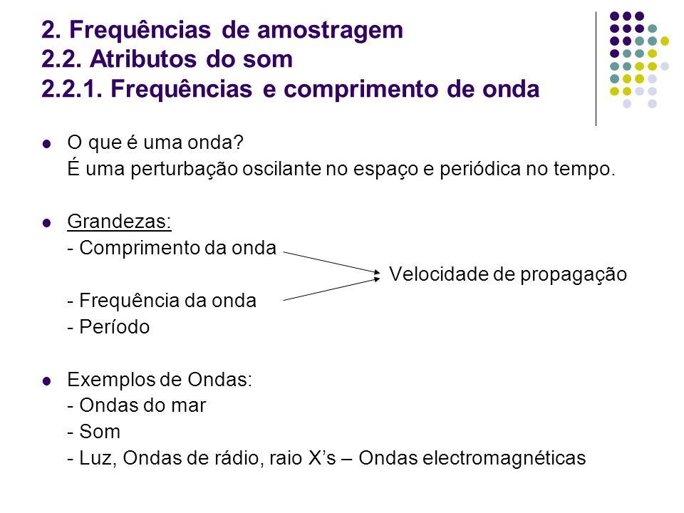 2. Frequências de amostragem 2. 2. Atributos do som 2. 2. 1
