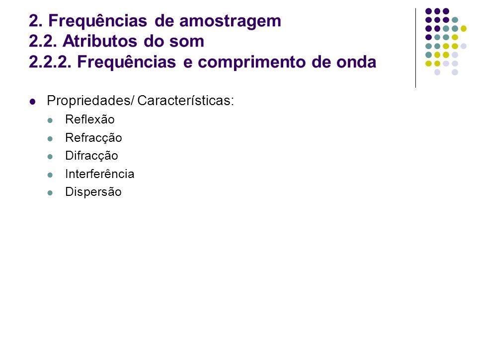 2. Frequências de amostragem 2. 2. Atributos do som 2. 2. 2