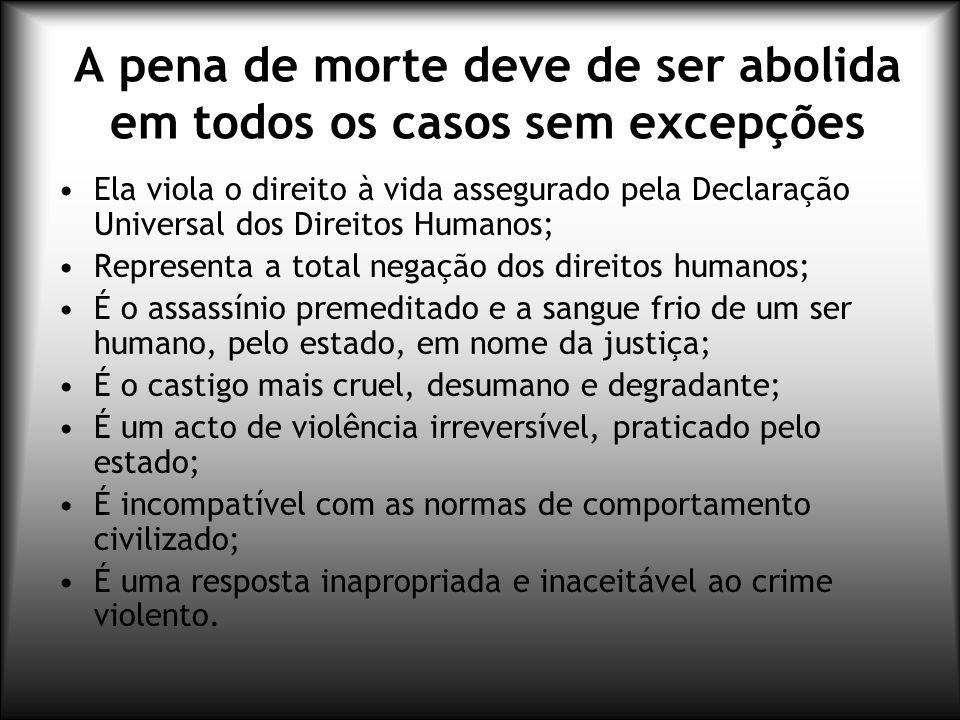 A pena de morte deve de ser abolida em todos os casos sem excepções
