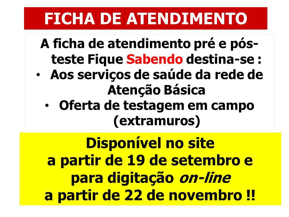 FICHA DE ATENDIMENTO Disponível no site a partir de 19 de setembro e