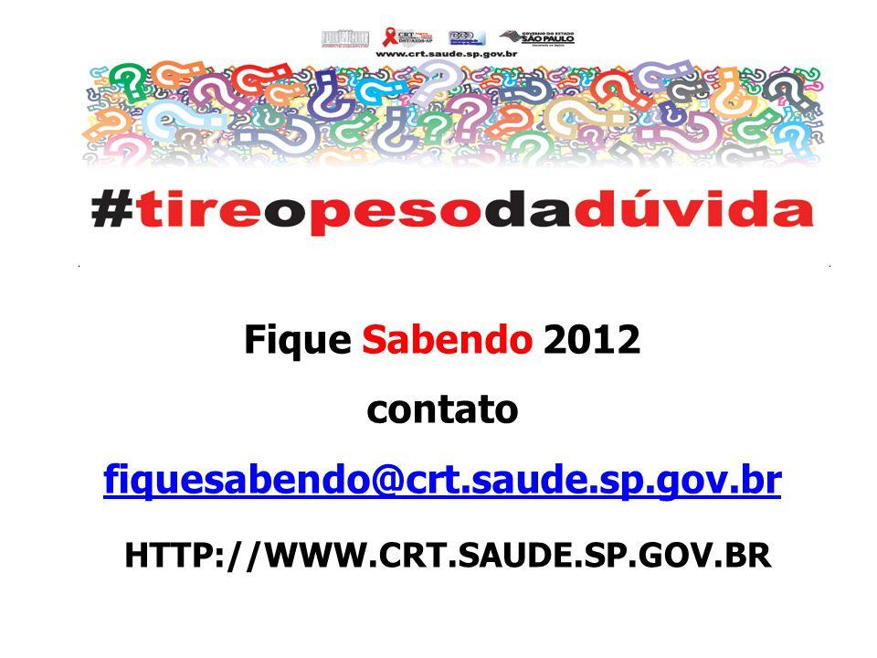Fique Sabendo 2012 contato fiquesabendo@crt.saude.sp.gov.br