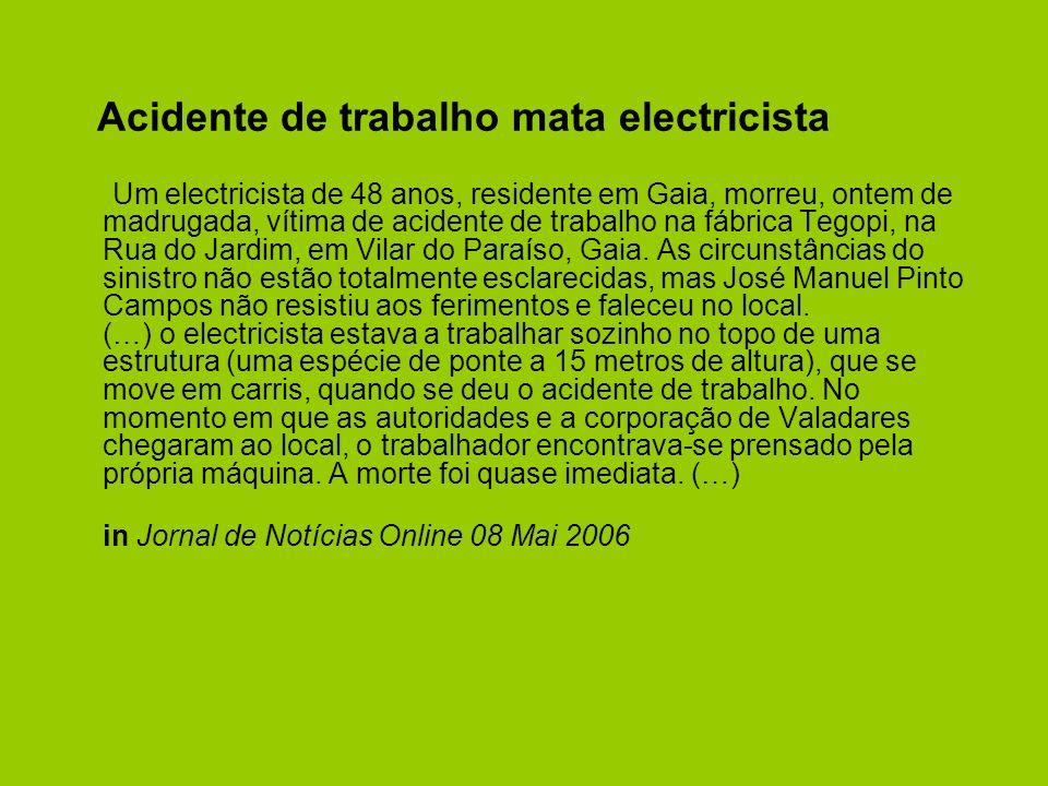 Acidente de trabalho mata electricista