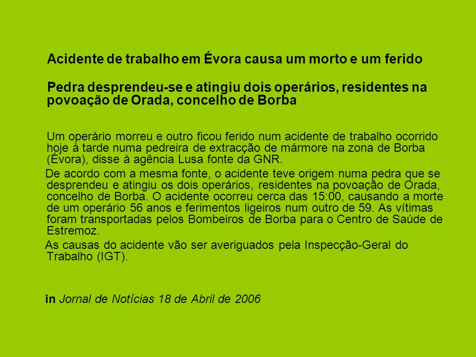 Acidente de trabalho em Évora causa um morto e um ferido