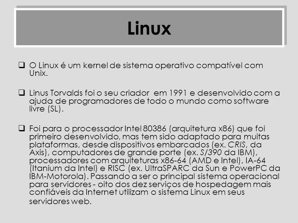 Linux O Linux é um kernel de sistema operativo compatível com Unix.